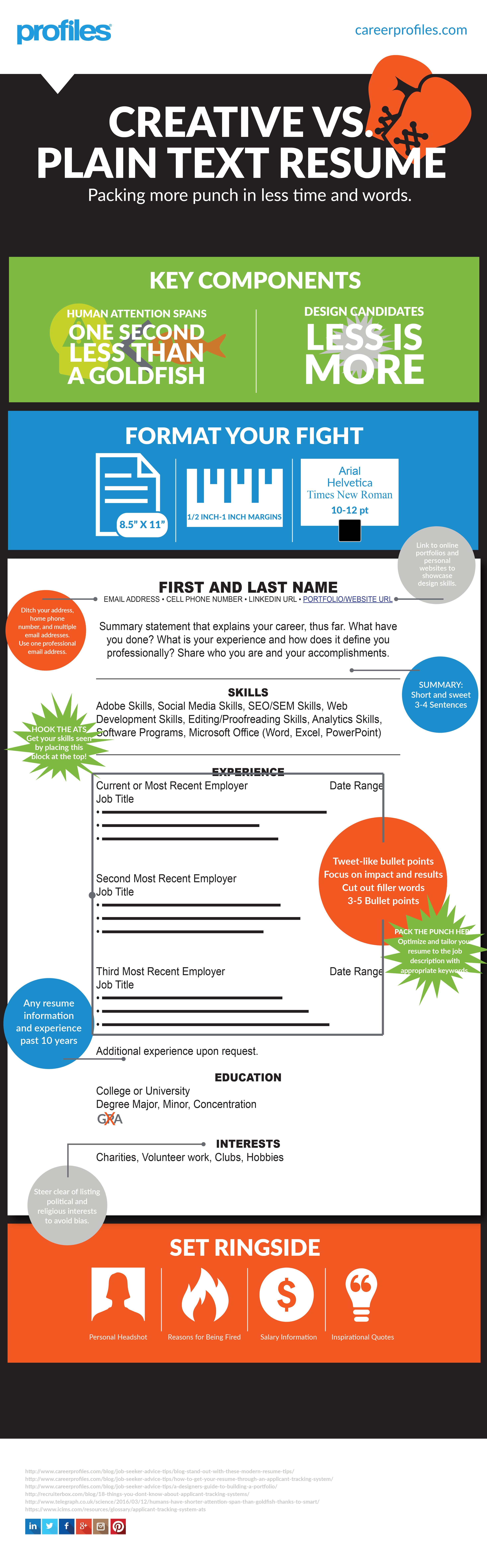 Infographic Plain Text Resume Template Career Profiles