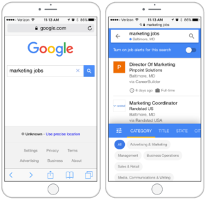 google for jobs results mobile screenshots