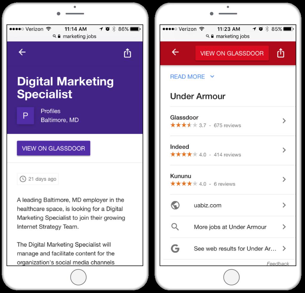 google for jobs job post mobile screenshots