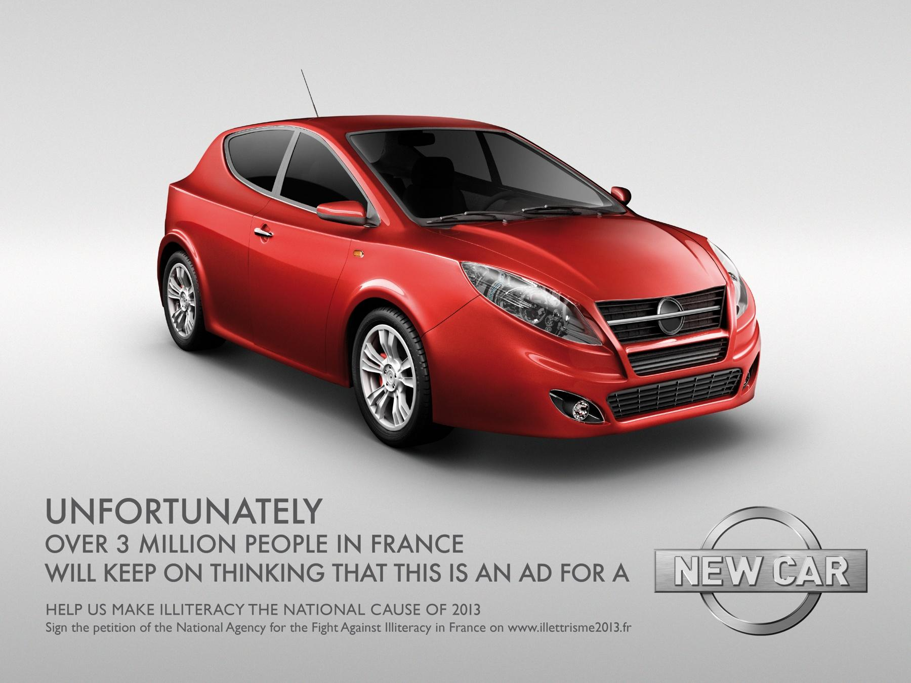 french illiteracy car ad