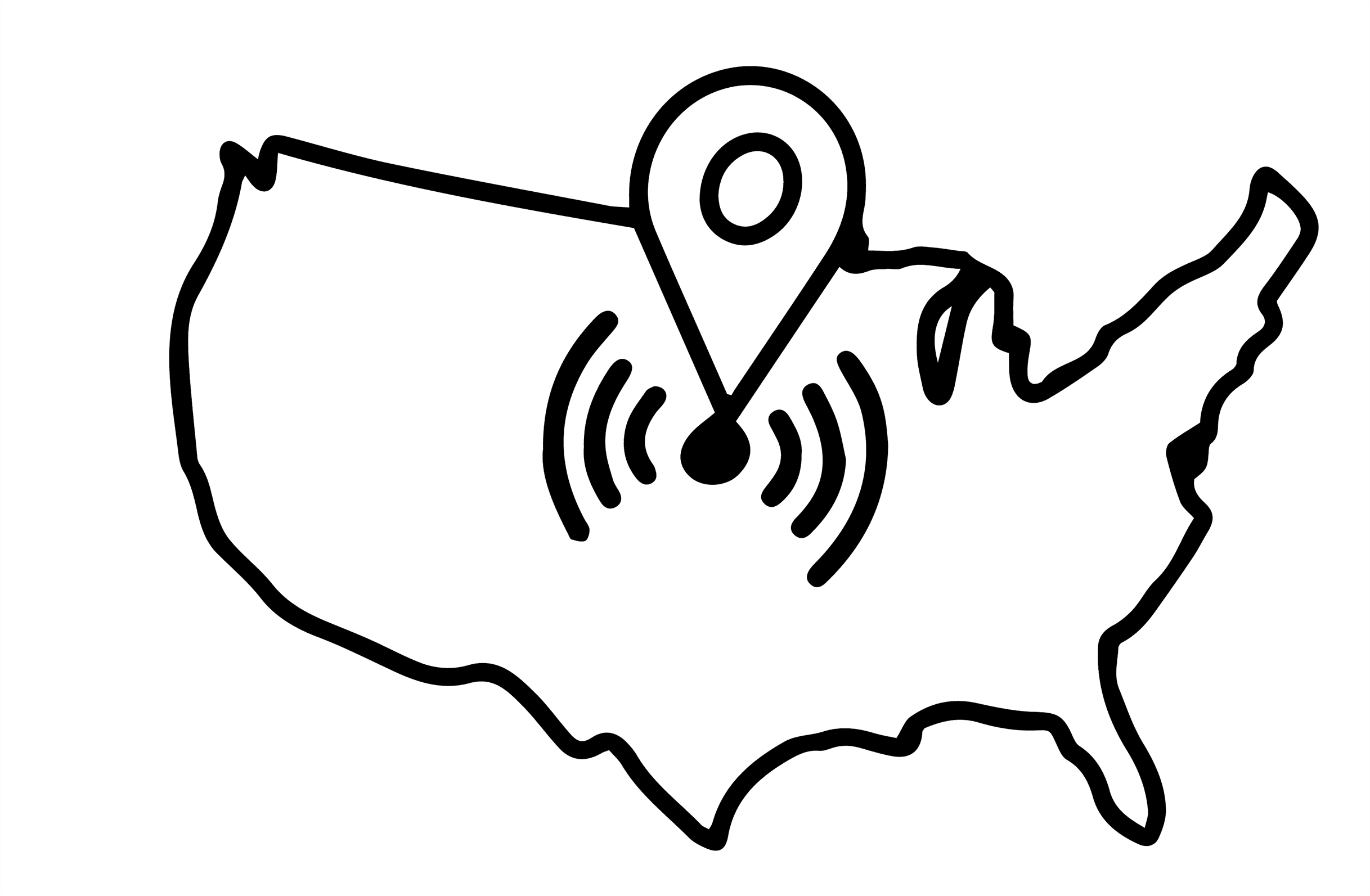 line outline of the United States with a pinpoint in the middle.