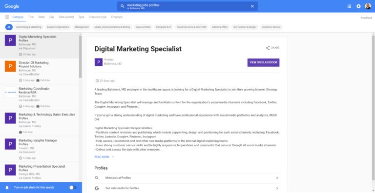 google for jobs screenshot