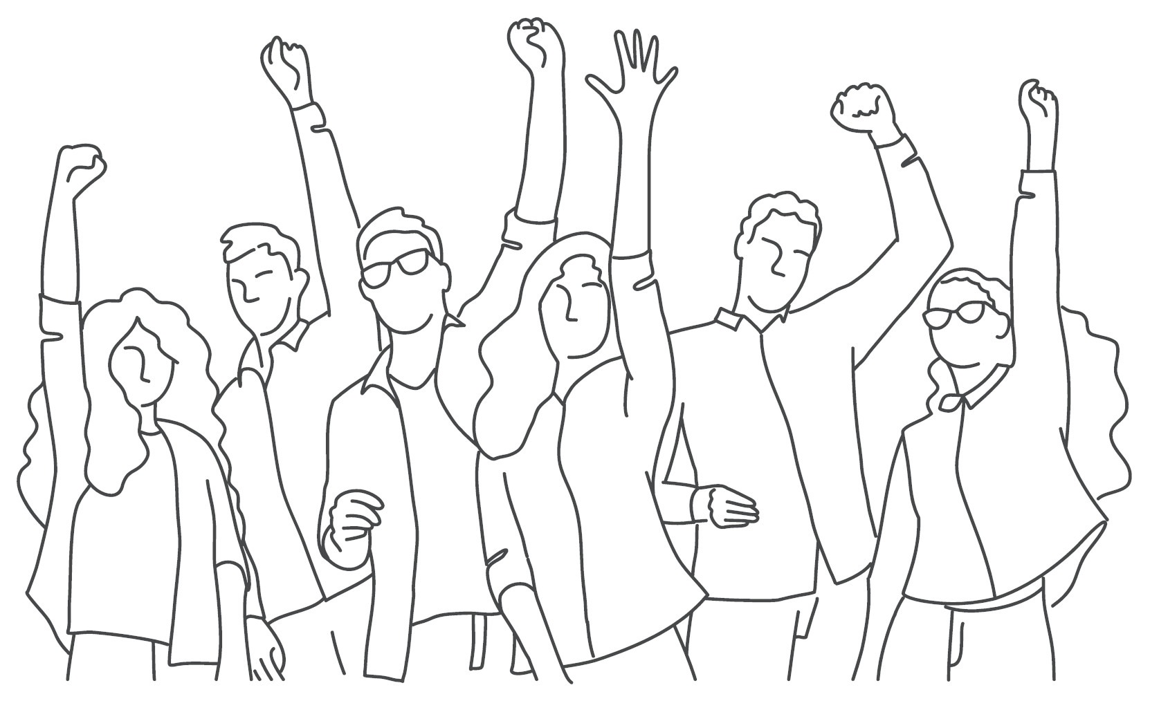 Line drawing for a group of people celebrating with their hands in the air.