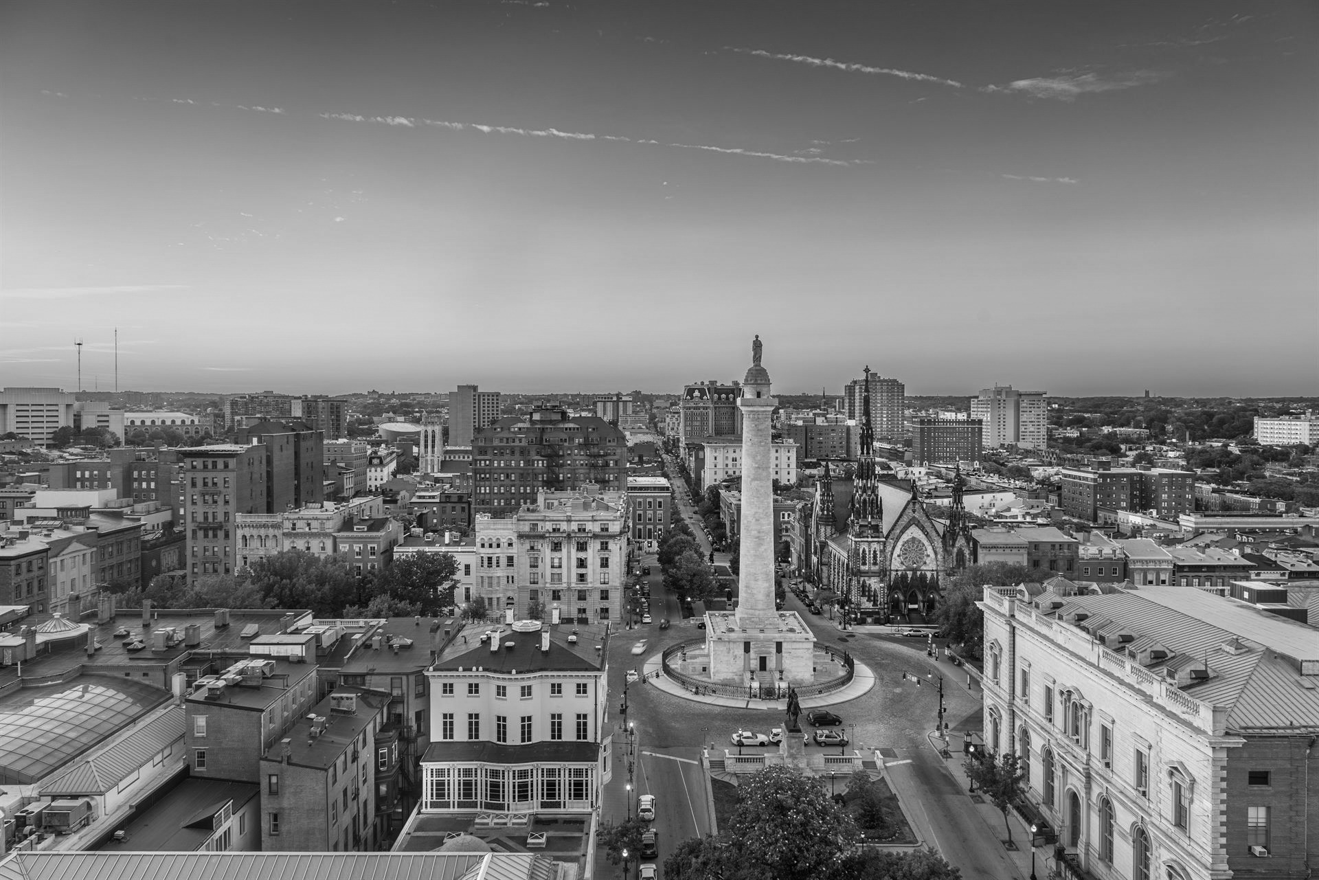 Black and White photo of Baltimore, Maryland, USA cityscape at Mt. Vernon and the Washington Monument.