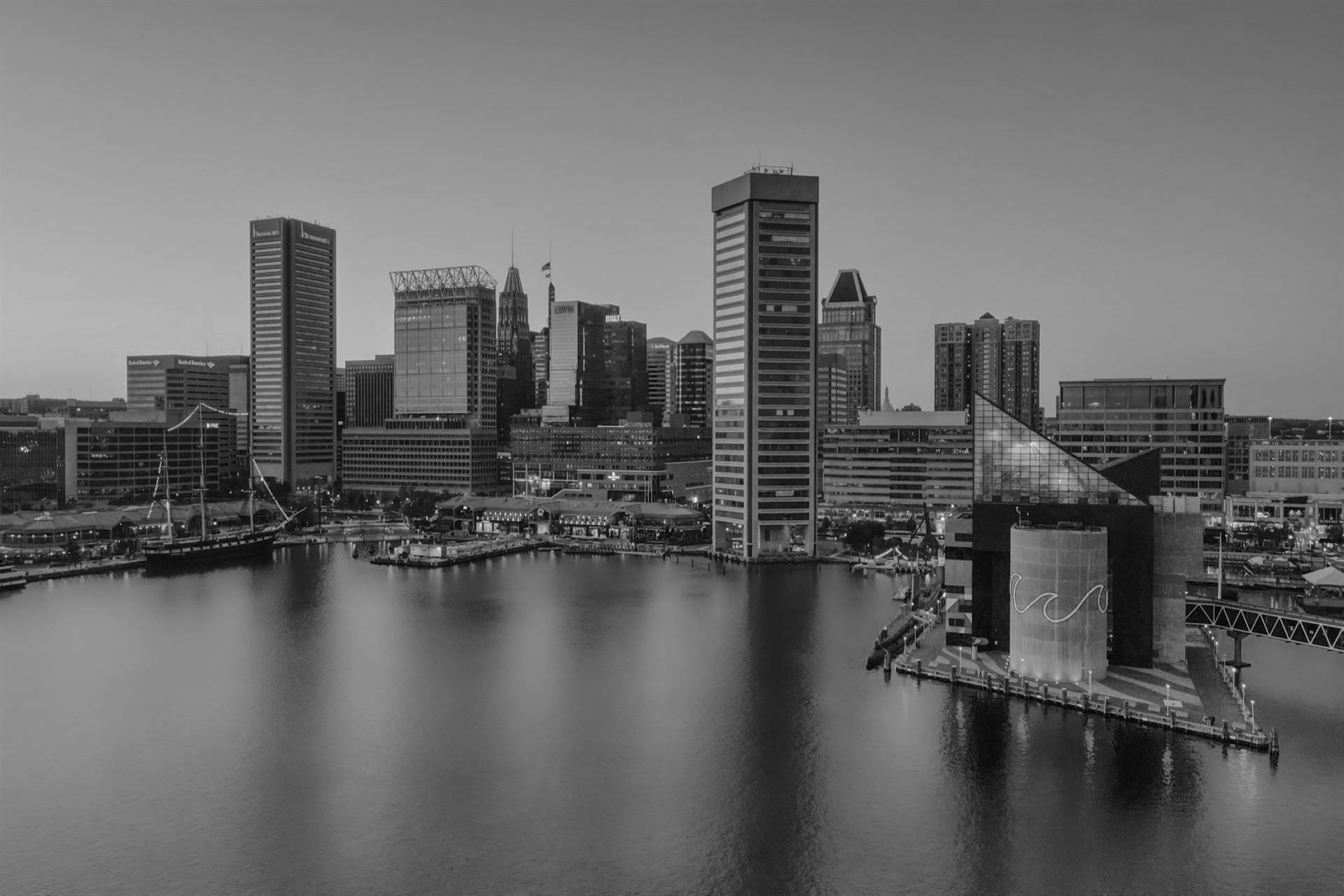 Baltimore city skyline in black and white