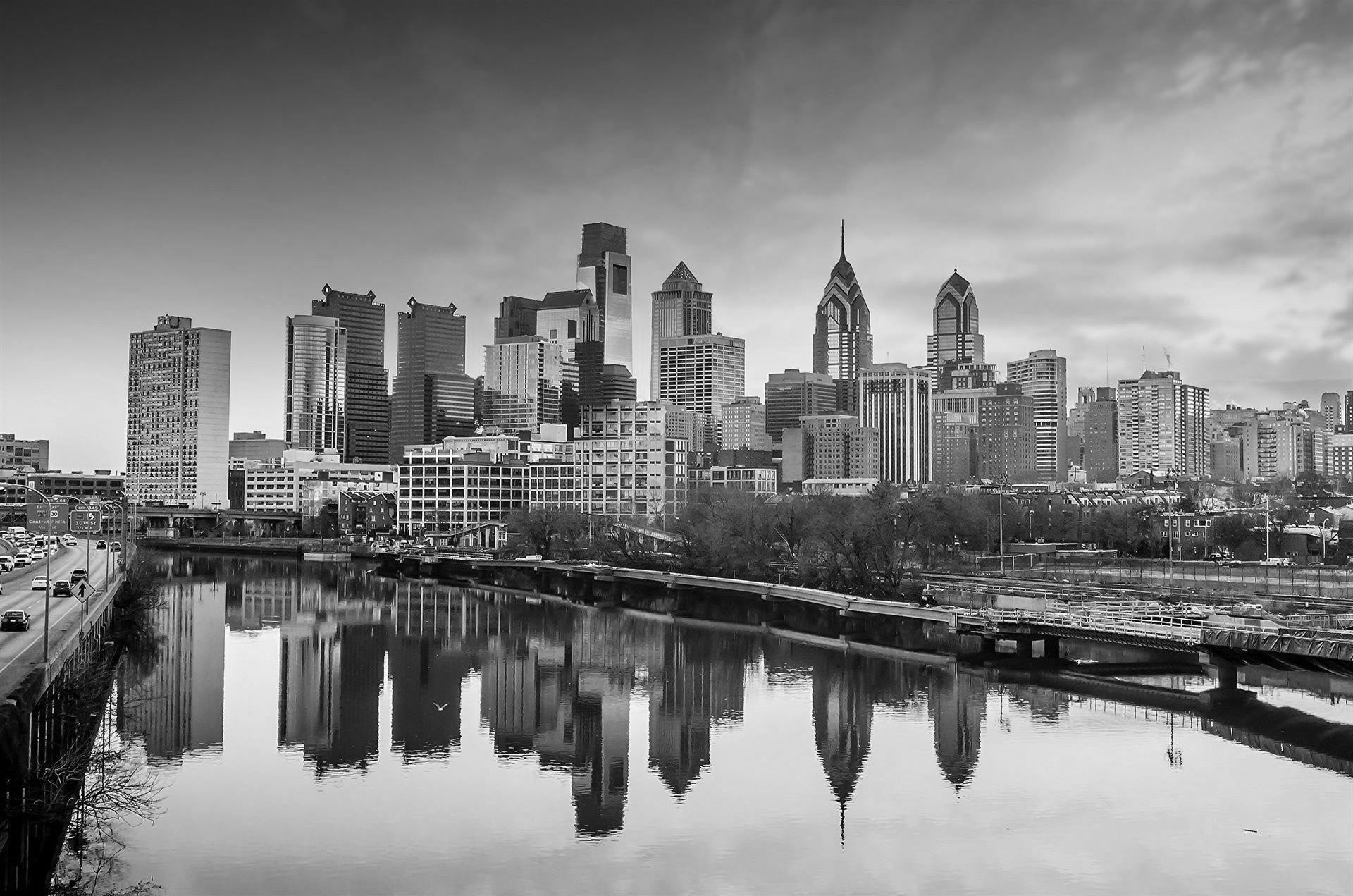 Black and White photo of Downtown Skyline of Philadelphia, Pennsylvania at twilight in USA