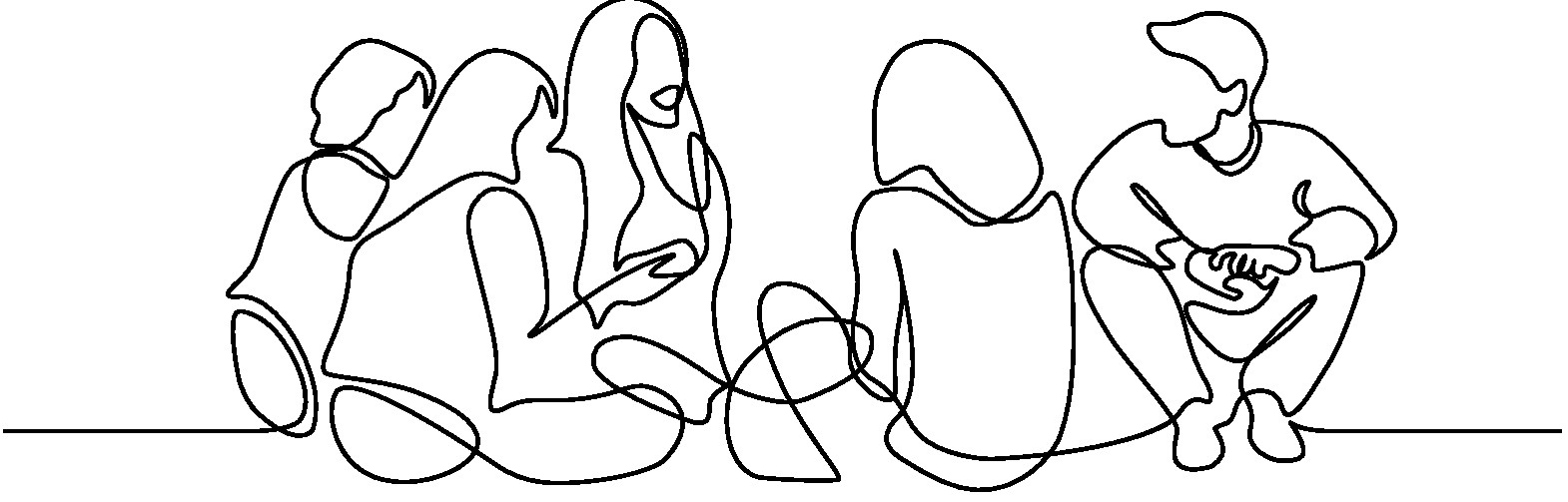 Line drawing of a group of people sitting and talking on the floor. It is one single connecting line.